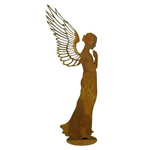 Metallmichl Edelrost Engel Santine einfach auf Platte Höhe 30 cm engel-Statue Engel-Figur