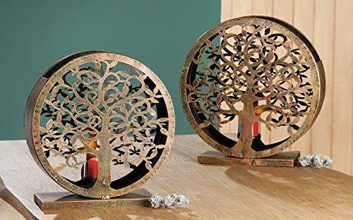 1 x Windlicht Lebensbaum Metall Kupfer Höhe 39 cm Garten Hauseingang für Kerze oder Lichterkette klein Höhe 39 cm Stückpreis