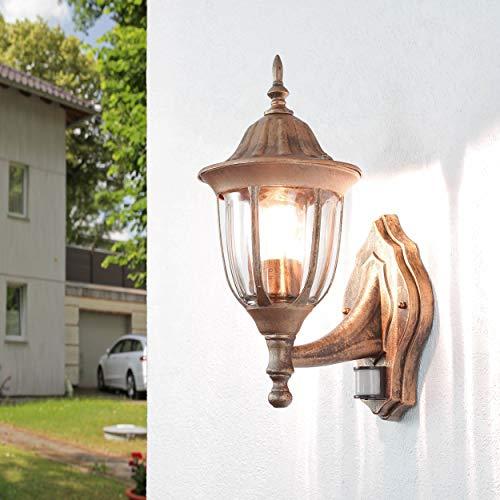 Nostalgische XXL Aussen Wandleuchte mit Bewegungsmelder Sensor in Antik Kupfer mit E27 Fassung IP43 rustikal große Aussenleuchte Wandlampe Hof Garten