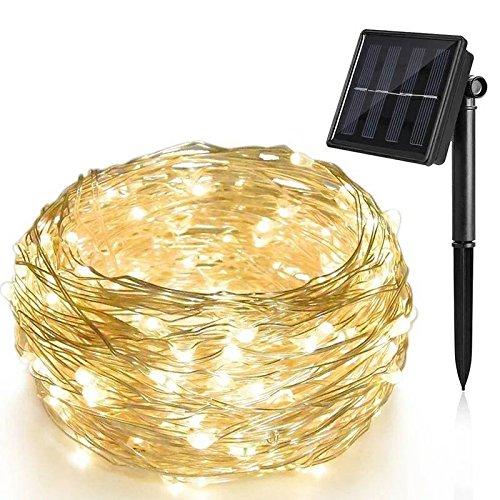 Solar Lichterkette LED Kupfer Lichterkette ALED LIGHT 200 LED 20M Lichterkette Wasserfest String Beleuchtung Ambiente für Außen Landschaft Terrasse Garten Schlafzimmer Weihnachtsfest Warmweiß