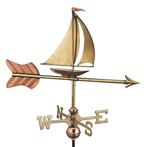 good Richtungen 8803pg Segelboot Garten Wetterfahne Kupfer poliert mit Garten Pole