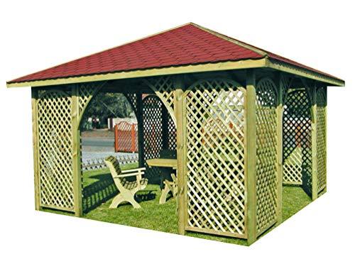 Stan-Wood GARTENLAUBE Holz PAVILLON mit Holzdach 4m x 4m äußer 445m