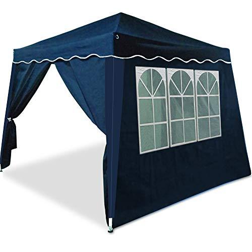 Deuba Faltpavillon Festzelt Capri 3x3m Blau  9m² Pop Up Pavillon  4 aufrollbare Seitenwände  wasserabweisend 6 Rundbogenfenster  Farbauswahl