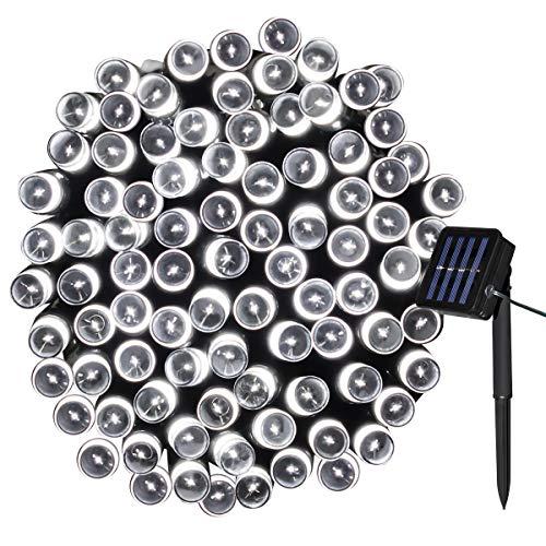 Yasolote Solar Lichterkette Außen Wasserdicht LED Außenlichterkette 10m 100 LED 8 Modi Beleuchtung für Haus Garten Balkon Pavillon Terrasse Rasen Hof Zaun Hochzeit Party Fest Deko Weiß