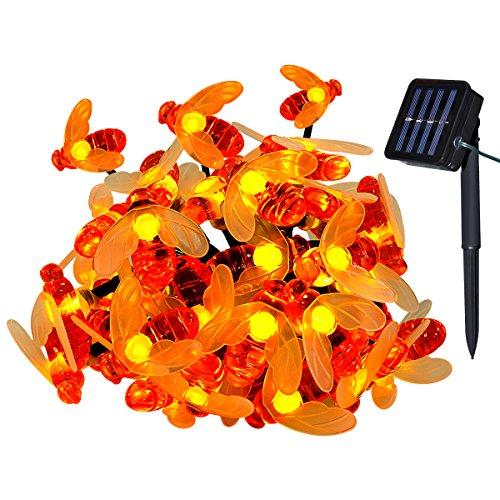Yasolote Solar Lichterkette Außen Wasserdicht LED Außenlichterkette Bienen 45m 30 LED 8 Modi mit Lichtsensor Beleuchtung für Haus Garten Balkon Pavillon Terrasse Rasen Hof Zaun Hochzeit Party Fest Deko Warmweiß