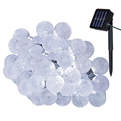 Yasolote Solar Lichterkette Außen Wasserdicht LED Außenlichterkette Kugeln 45m 30 LED 8 Modi Beleuchtung für Garten Balkon Pavillon Terrasse Rasen Hof Zaun Hochzeit Fest Deko Weiß