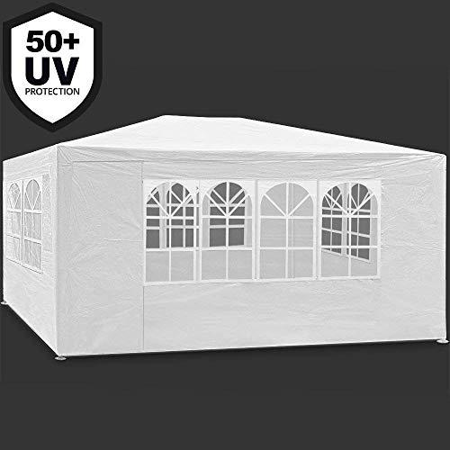 MAXX 3x4m Festzelt Pavillon Weiß Gartenzelt Wasserdicht Bierzelt Stahlkonstruktion mit extra dickem Stahlgestänge Camping Strand geeignet komplett verschließbar