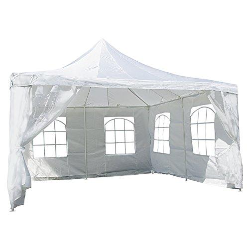 Nexos Hochwertiges Festzelt Partyzelt Pavillon 4 x 4 m weiß mit Seitenteilen für Garten Terrasse Feier Markt als Unterstand Plane wasserdicht PE Dach 250 gm² beschichtete Stahlrohre