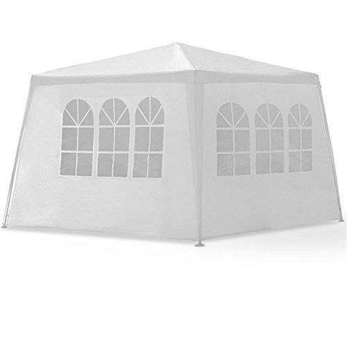 SAILUN 3 x 4 m Weiß Gartenpavillon Gartenzelt Bierzelt Pavillon Wasserdicht PE Plane inklusive 4 Seitenwände 3 x Fenster 1 x Tür mit Reisverschluss