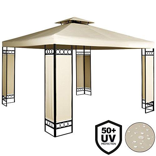 Deuba Pavillon 3x3m  wasserabweisend  UV-Schutz 50  9m² Festzelt Gartenpavillon  Creme
