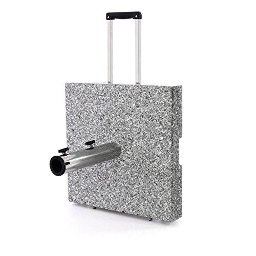 Nexos Sonnenschirmständer – Trolleyfunktion mit Griff Griffmulden Rädern Reduzierhülsen – Edelstahl Granit Eckig 45 x 45cm 40kg - Schwarz Weiß