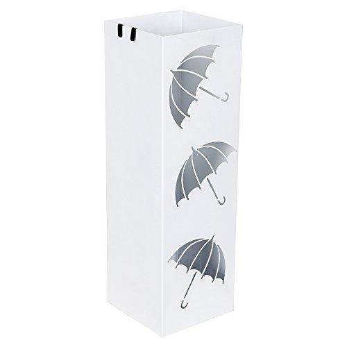 SONGMICS Regenschirmständer Schirmständer mit Wasserauffangschale Haken für Regenschirm Gehstock Geschenkpapierständer155 x 155 x 49 cm weiß LUC26W