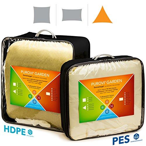 Purovi Sonnensegel Dreieck  Verschiedene Größen  UV Schutz  wasserabweisendes PES  Größe 3 x 3 x 3m