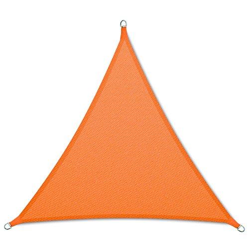 casa pura Sonnensegel wasserabweisend imprägniert  Dreieck gleichseitig  Testnote 14  UV Schutz  verschiedene Farben und Größen orange 3x3x3m