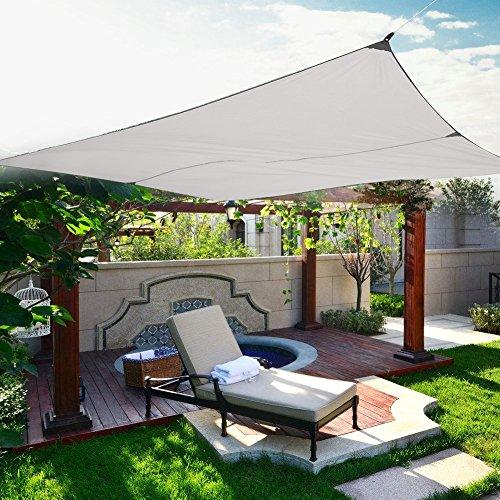 Zerone sonnensegel wasserdichtSonnen Segel Sonnenschutz Schattensegel Sonnendach Windschutz Polyester Nylon 4x3m(Beige)