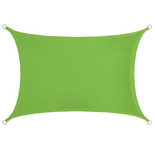 AMANKA UPF50 Sonnensegel 3x2m Polyester Rechteck Wasserabweisend Stabiles Garten-Segel Terrasse Balkon Wetterfest Grün