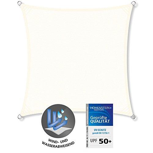CelinaSun Sonnensegel UPF 50 geprüfter UV-Schutz PES Sonnenschutz Garten Terrasse Balkon PU-Beschichtung wasserabweisend imprägniert Wetterschutz 1000911 Quadrat 36x36m Creme weiß