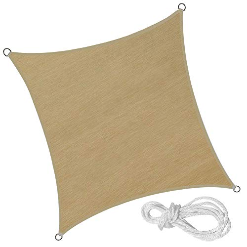 FROADP Sonnensegel Quadrat 4x4m - Sonnensegel Wasserdicht UV Schutz Windschutz fur Camping Terrasse Balkon Garten - Sandbeige 4x4m Quadrat