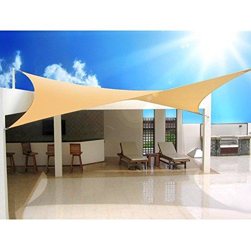 Green Blue GB505 Sonnensegel Sonnenschirm Sonnenschutz Windschutz Sonne Quadrat Creme 5m x 5m