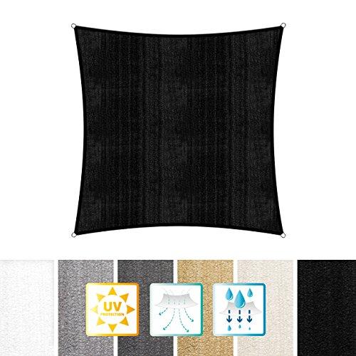 Lumaland Sonnensegel inkl Befestigungsseile 100 HDPE mit Stabilisator für UV Schutz Quadrat 5 x 5 Meter schwarz
