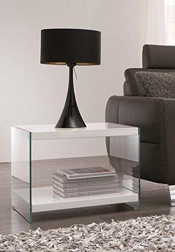 Beistelltisch Glastisch Nachttisch mit Ablage aus MDF in hochglanz weiß mit Sicherheitsglas Tischbeinen Maße BTH in cm 55 x 48 x 45