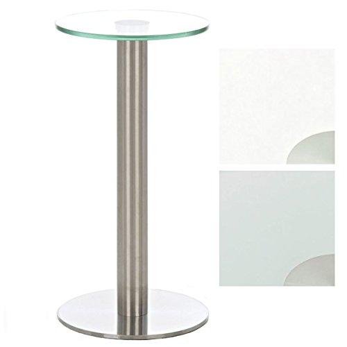 CLP Glastisch MARIDA Beistelltisch mit Edelstahlgestell Kaffeetisch mit einer 1 cm starken Sicherheitsglasplatte klarglas
