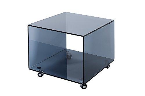 DuNord Design Beistelltisch Glastisch Clear 50cm Glas Anthrazit Rollen Design Tisch Sofatisch