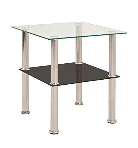 Haku Beistelltisch BZW Nachttisch aus Glas und Stahl in Edelstahl-Schwarz Maße BTH in cm 40 x 40 x4 2
