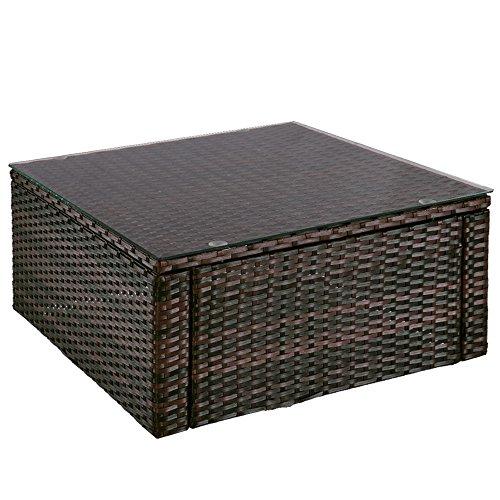 MIADOMODO Rattantisch  Hochwertiger Polyrattan Tisch  Teetisch  Beistelltisch mit Glas  Farbwahl  Gartentisch  Tischplatte aus Glas  Lounge-Tisch Braun