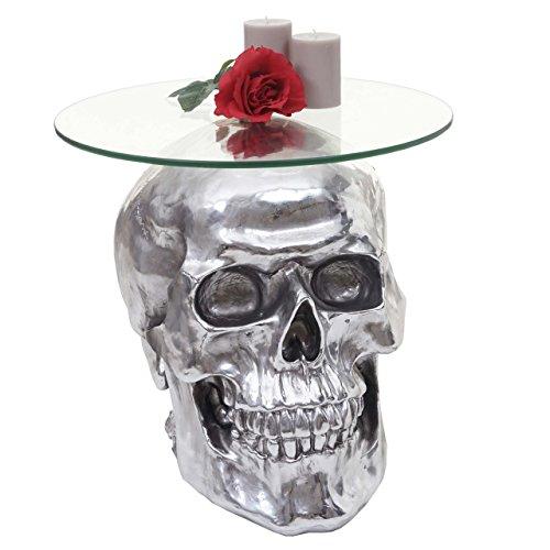 Mendler Beistelltisch Totenkopf HWC-A19 Polyresin Glastisch Wohnzimmertisch Silber 52x55x55cm