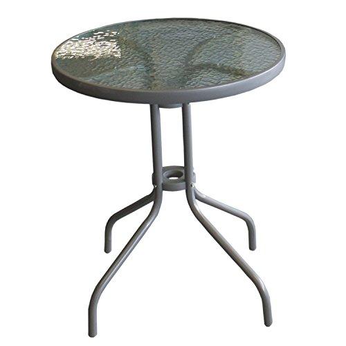 Wohaga Balkontisch mit geriffelter Glasplatte Ø60cm Silber Bistrotisch Beistelltisch Glastisch Gartentisch
