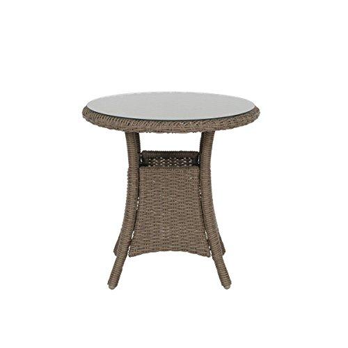 greemotion Beistelltisch Garda braun kompakter Balkontisch mit runder Glastischplatte Gartentisch aus hochwertigem Aluminium und Poly-Rattan witterungsbeständig und pflegeleicht