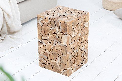 DuNord Design Beistelltisch Teakholz Massivholz CUBIX 45cm Recycling Hocker Holztisch Pflanzentisch