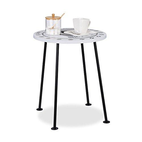 Relaxdays Kaffeetisch klein runder Beistelltisch im COFFEE SHOP Design MDF Metall HBT 465x40x40cm schwarzweiß