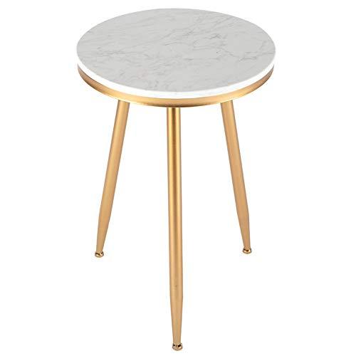 RKY Sofa-Beistelltisch Runder Metalltisch runder moderner Marmor-Beistelltisch 40 x 40 x 59 cm in Zwei Farben erhältlich - Farbe  Gold