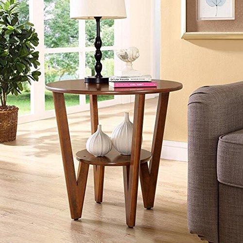 Tische MEIDUO Sofa Beistelltisch Einfache Ecktisch Rundtisch Telefontisch Kleiner Couchtisch Φ60  H58cm Computertisch Farbe  Nussbaum