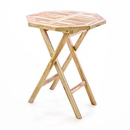 Divero Balkontisch Gartentisch Beistelltisch Teak Holz Tisch für Terrasse Balkon Garten – wetterfest massiv klappbar – Ø 60 cm natur-braun