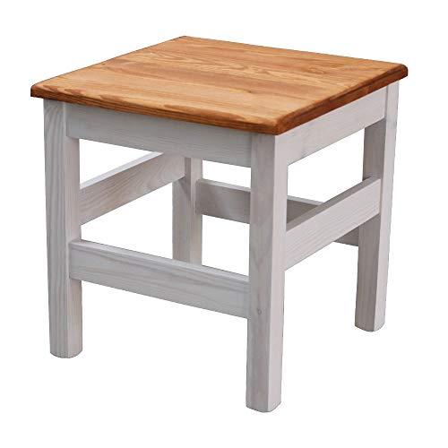 Elean Massivholz Sitzhocker Kiefer massiv Beistelltisch Holzhocker Blumenhocker Farbauswahl TM 01 Weiß - nussbaum