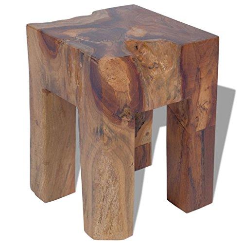 Festnight Holz Hocker Sitzhocker aus Massives Teakholz Holzhocker mit 4 Beinen 30 x 30 x 40 cm als Fußstütze Beistelltisch