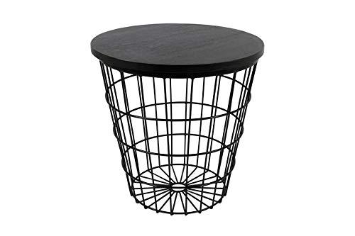 Beistelltisch - Drahtkorb-Tisch Ø 50 cm schwarz pulverbeschichtet - schwarze Holzplatte