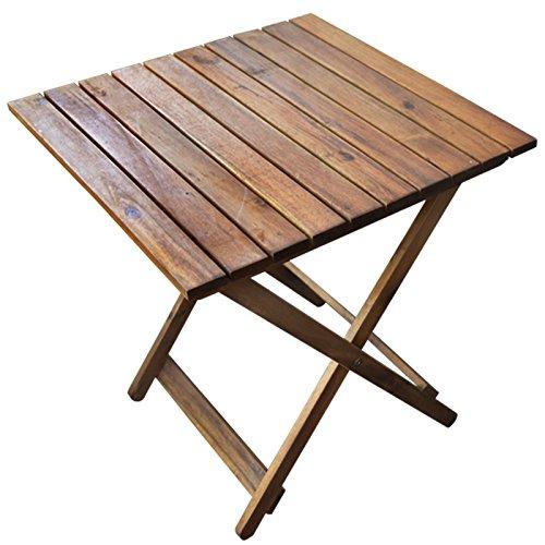 Rustikaler Beistelltisch aus Holz  Ideal für Balkon und Camping  Klapptisch platzsparend und Klein  Akazienholz Braun 50x50x50 cm