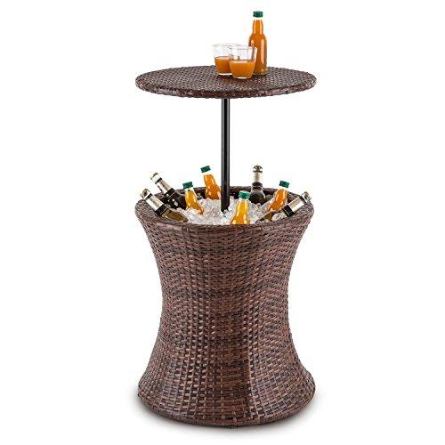 blumfeldt Beerboy • Gartentisch • Stehtisch • Beistelltisch • Getränkekühler • höhenverstellbare Tischplatte • 50cm Durchmesser • Polyrattan • für Garten Balkon oder Terrasse • wetterfest • braun