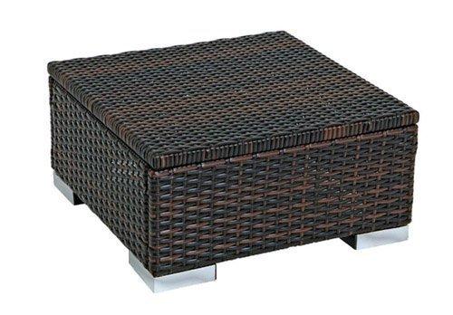 gartenmoebel-einkauf Hocker Beistelltisch SORRENTO 50x50cm Stahl  Polyrattan braun