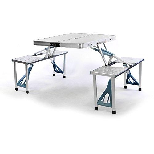 Nexos Sitzgruppe Camping Aluminium Tisch 4 Hocker Stuhl Party klappbar Koffergarnitur Klappgarnitur Picknicktisch wetterfest