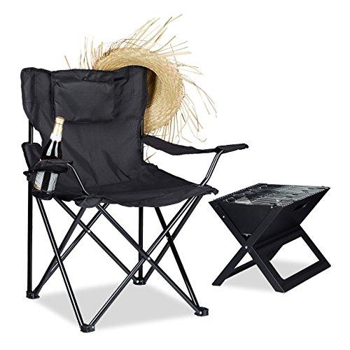Relaxdays Campingstuhl Rückenlehne Armlehnen Getränkehalter Polster Tragetasche H x B x T 80 x 79 x 50 cm schwarz