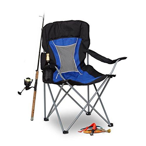 Relaxdays Campingstuhl faltbar mit Lehne Faltstuhl klappbar für Festival Anglerstuhl HxBxT 100x90x56 cm blau-schwarz