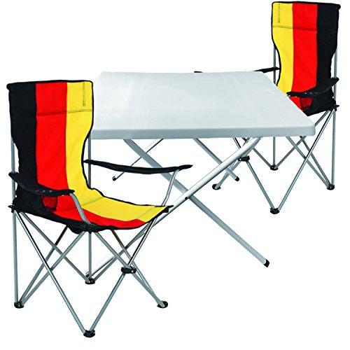 Mojawo  3tlg Campingmöbel Set Alu 1x Campingtisch mit Tragegriff 60x80 cm  2 Anglerstühle Faltstühle Campingstuhl