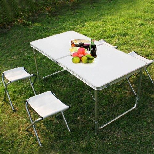 Klapptisch Campingtisch Koffertisch Tisch mit vier Klappstühlen klappbar 215101