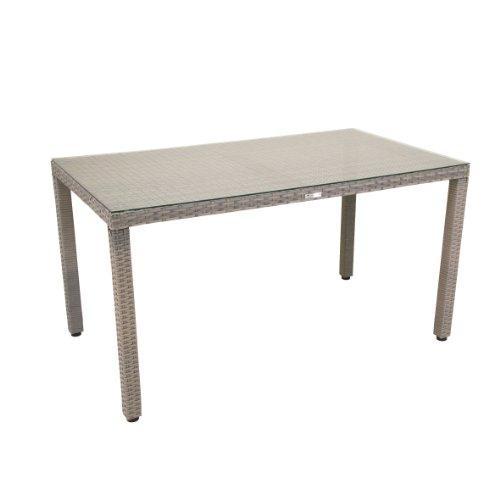 greemotion Tisch Manila grau bicolor Gartentisch mit Glasplatte gastronomiegeeignet Balkontisch mit Höhenverstellbaren Füßen witterungsbeständiges Polyethylengeflecht besonders pflegeleicht Maße ca 140 x 80 x 74 cm