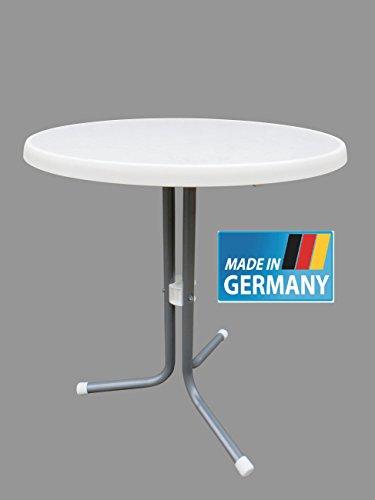MFG Bistrotisch 60 cm Durchmesser rund MADE IN GERMANY Gestell graphit silber farben Sevelit Platte in bianco weiß marmoriert TÜV geprüft 16